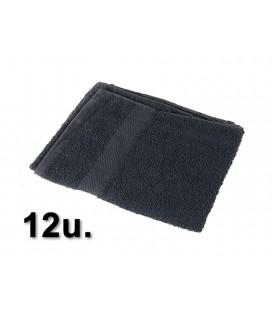 12u. Toalla 100% algodón 40x80cm 380grs/m2 Negra