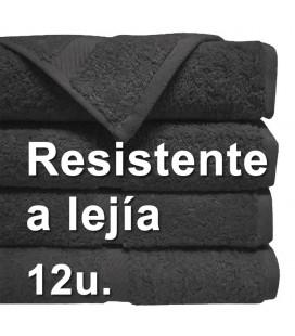 12u. Toalla RESISTENTE A LEJIA 40x80cm 100% algodón 380grs/m2 Negra